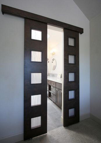 Double bathroom entry doors with frosted glass panels | Decolover