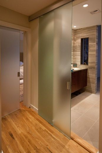Bathroom entry doors with full sliding frosted glass | Decolover.net