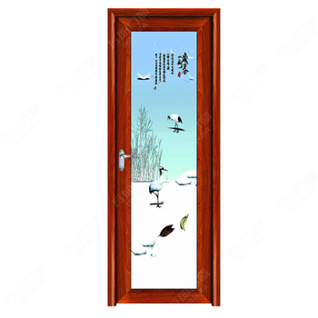 interior frosted glass bathroom door/aluminium glass double entry