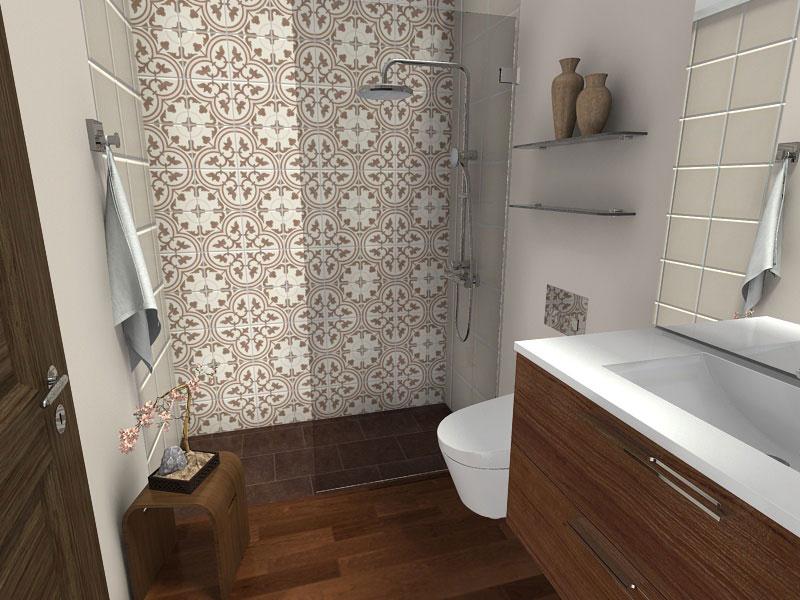 Bathroom with Wood Floor & Curbless Shower