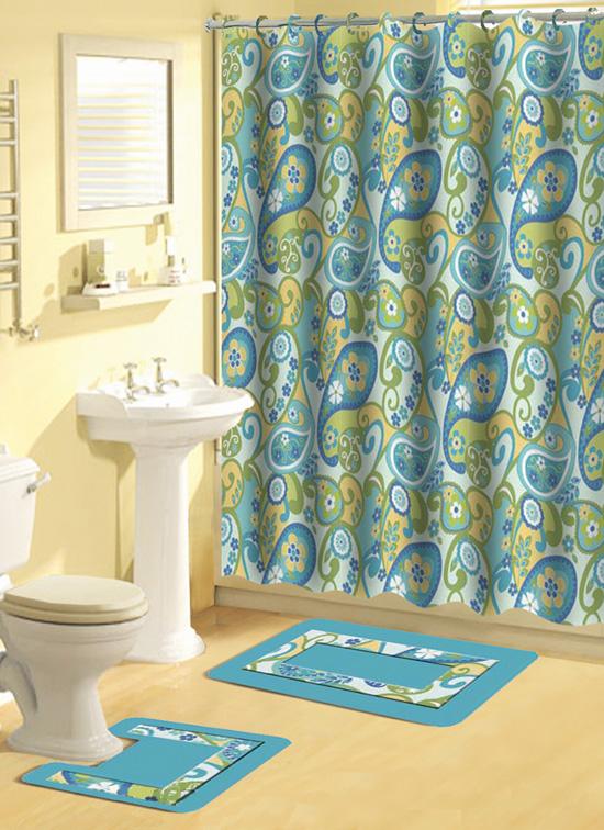 Home Dynamix Bath Boutique Shower Curtain and Bath Rug Set: 343