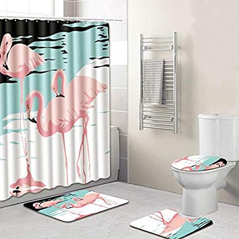 Amazon.com: Flamingo Bathroom Set Shower Curtain - Bath Rug Sets