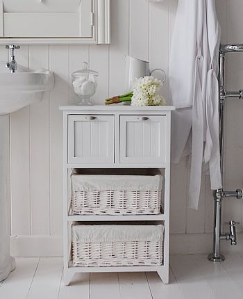 Creative ways to spruce up your white bathroom storage cabinet