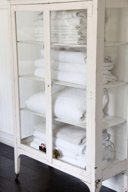 Beautiful Vintage cabinet for towel storage Need a bathroom big