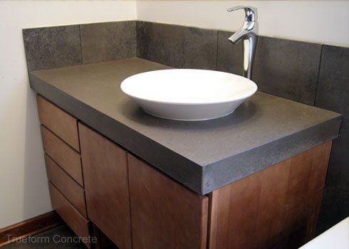 Concrete vanity top with vessel sink. #Concrete #Vanity Tops