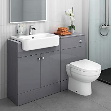 1160 mm Modern Gloss Grey Bathroom Door Vanity Unit Basin Sink + Toilet  Furniture Set