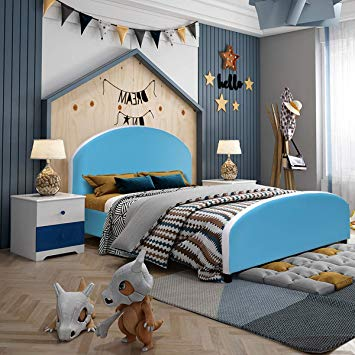 Amazon.com : Costzon Toddler Bed, Upholstered Platform Bed W/Wood