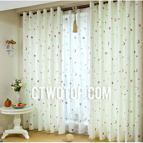 White And Red Purple Star Casual Unique Best Nursery Kids Curtains