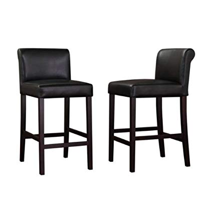 Amazon.com: Black Leather Counter Stools (Set of 2): Kitchen & Dining