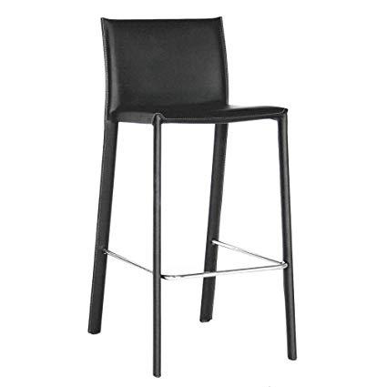 Amazon.com: Baxton Studio Elana Leather Counter Stools, Black, Set