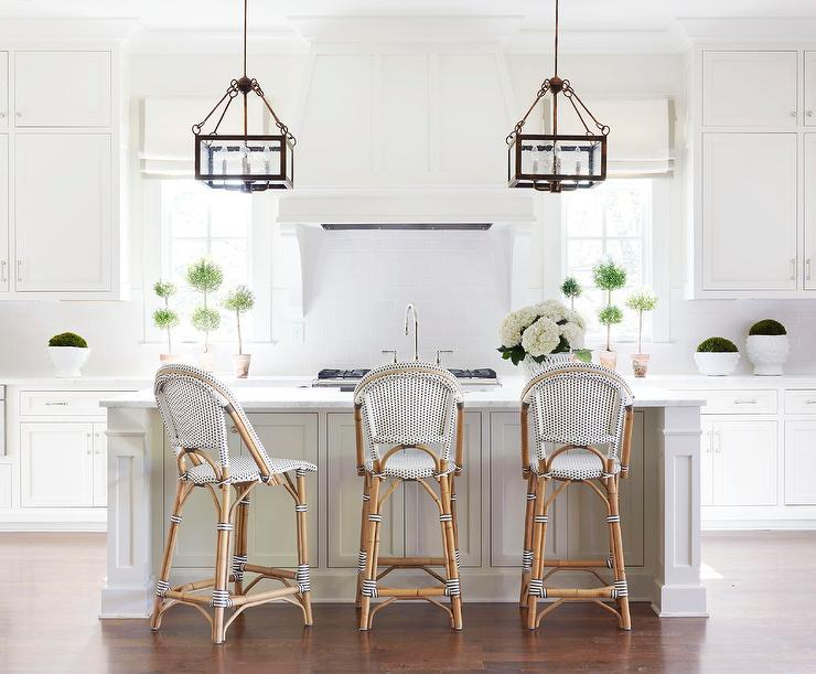 White Kitchen with Black and White French Bistro Counter Stools