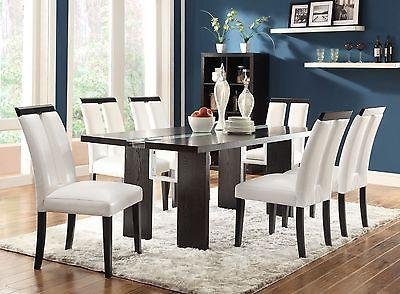 UNIQUE LED LIGHT UP DINING TABLE & CHAIRS BLACK WHITE LEATHERETTE