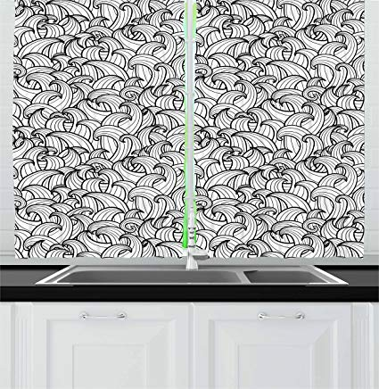 Amazon.com: Ambesonne Black and White Kitchen Curtains, Abstract Sea