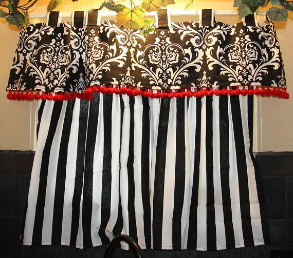 Bold Black and White Kitchen curtains with red details | For the