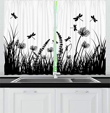 Amazon.com: Ambesonne Nature Kitchen Curtains, Grass Bush Meadow