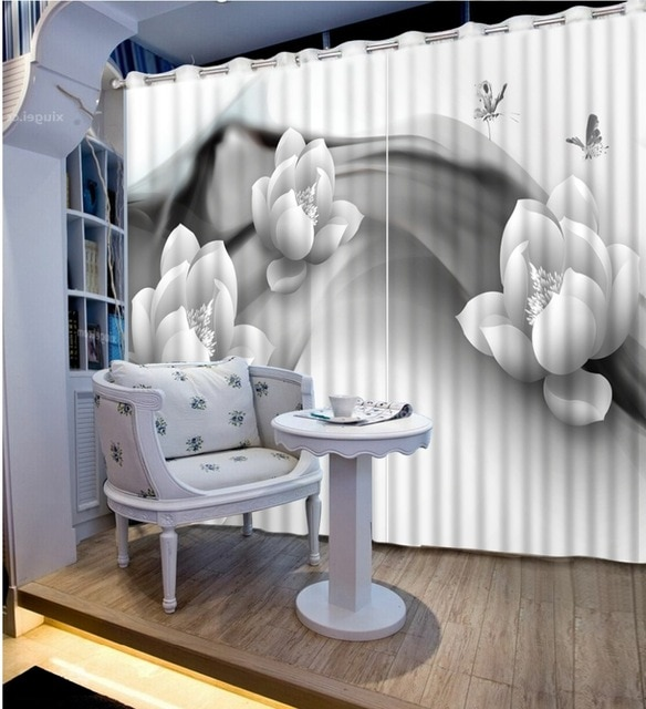 European Luxury Curtain Paint Photo 3D Curtains Flower black and