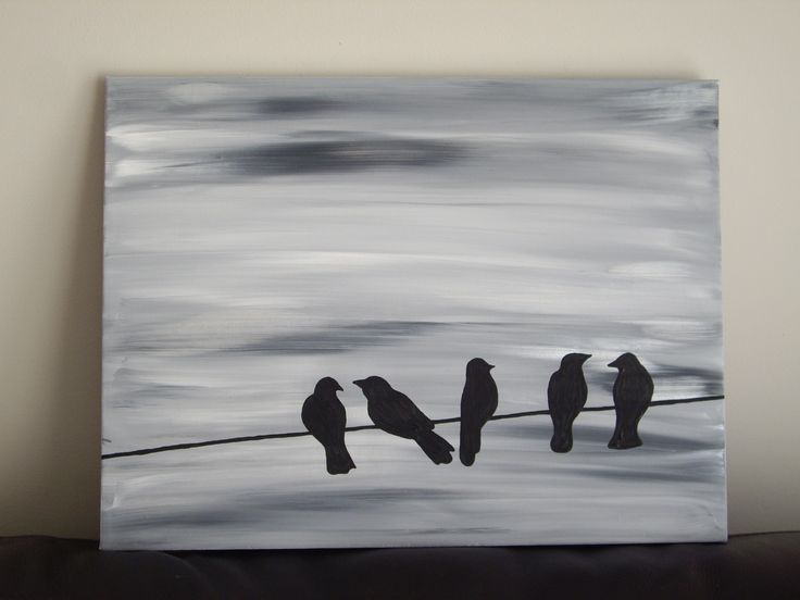 Bird silhouette acrylic painting on canvas, grey, black, white, and