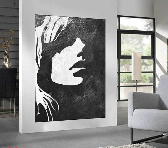 Black White Minimalist Abstract Painting woman face silhouette