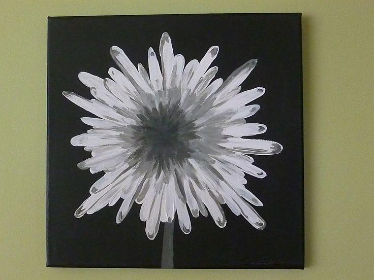 Painting Ideas Flower Acrylics Black White Diy Art - Tierra Este | #1959