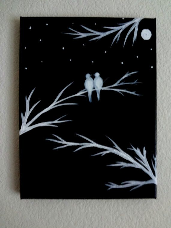 Black and white Acrylic painting canvas art Love birds silhouette