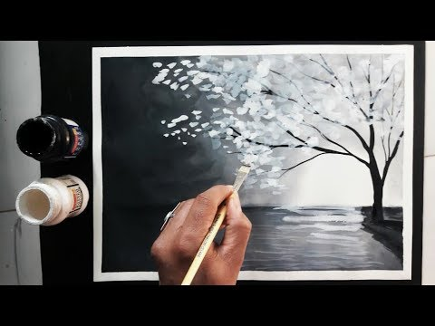 easy black and white painting ideas tutorial - YouTube