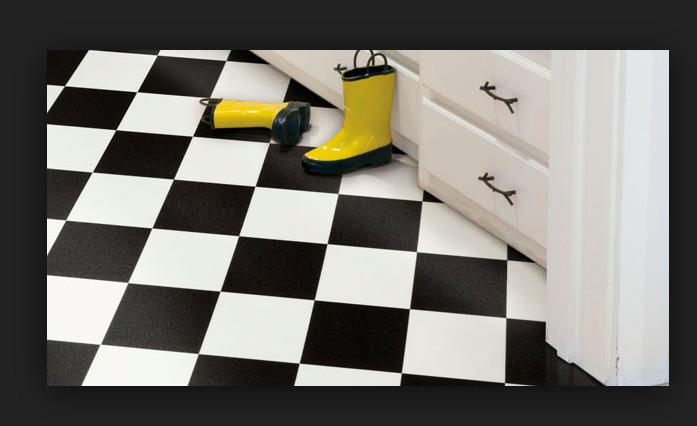 12' Black White Checkered Checkerboard Garage Kitchen Vinyl Flooring