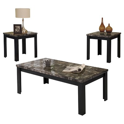 3 Piece Carly Pack Coffee End Table Set Faux Marble And Black - ACME