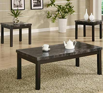 Amazon.com: 3pc Coffee Table and End Tables Set with Marble Top in