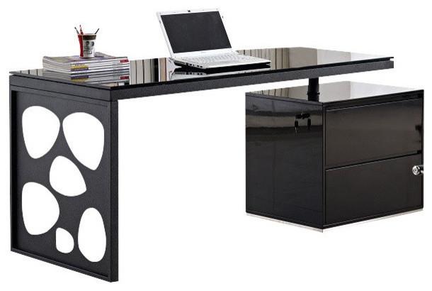 J&M Furniture KD01R Modern Office Desk in Black - Contemporary