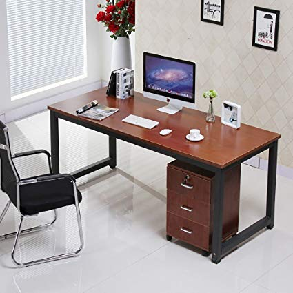 Amazon.com: 55in Computer Office Desk with Teak Tabletop and Black