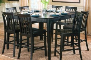 Amazon.com - 9pcs Contemporary Black Counter Height Dining Table & 8