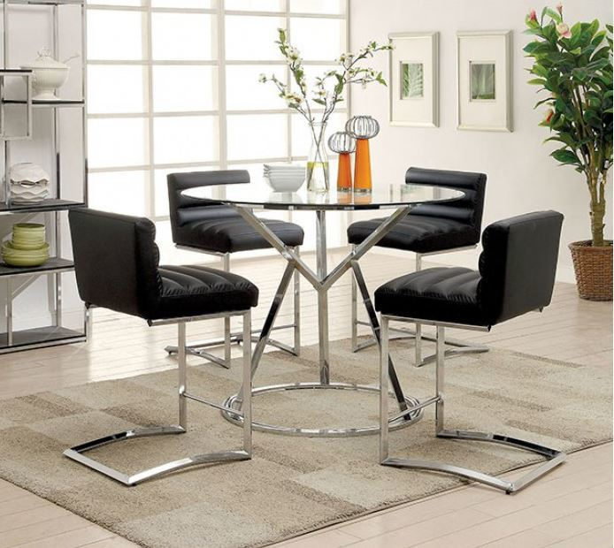 Furniture of America Livada II Black Counter Height Dining Table Set