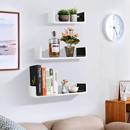 Amazon.com: White and Black Wall Shelves,32inch Floating Wooden Wall