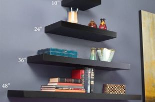 Manhattan Black Wooden Floating Wall Shelves