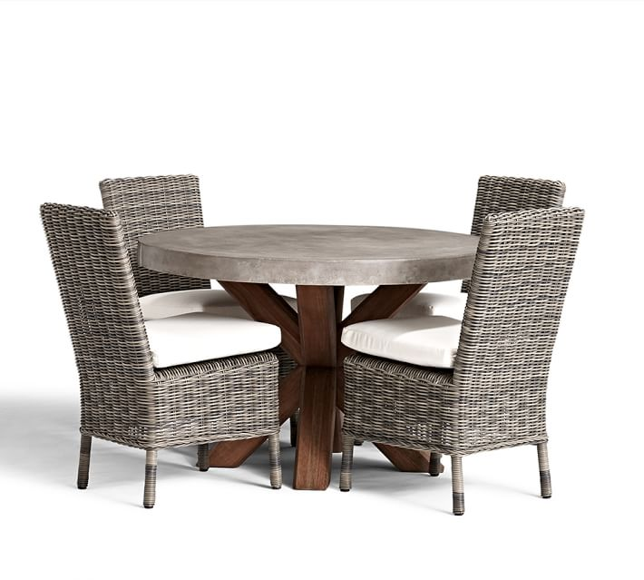 Abbott Round Brown Table & Huntington Dining Chair Set | Pottery Barn