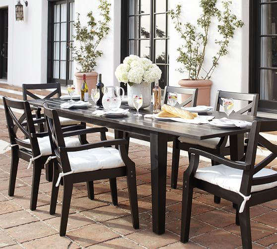 Hampstead Painted Extending Table & Chair Dining Set, Black
