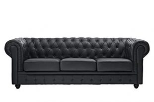 Amazon.com: Modway Chesterfield Fabric Sofa in Black: Kitchen & Dining