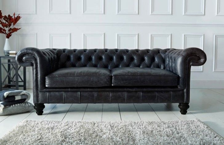Paxton Black Leather Chesterfield | Home | Chesterfield style sofa