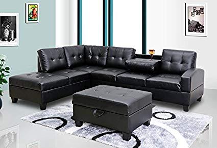 Amazon.com: GTU Furniture Pu Leather Living Room Sectional Sofa Set
