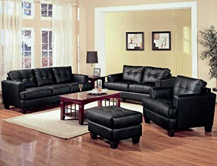Amazon.com: Samuel Collection 4PC Living Room Group in 100% Black