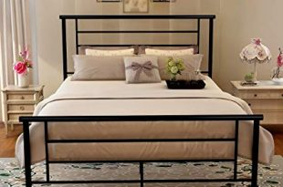 Metal Queen Bed Frame Platform Iron Bed with Headboard & Footboard Support  Box Spring Black Mattress Foundation Double Size (Queen, Black)