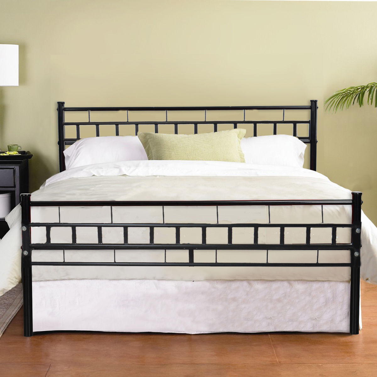 Zimtown Black Queen Wood Slats Bed Frame Platform Headboard Footboard  Furniture