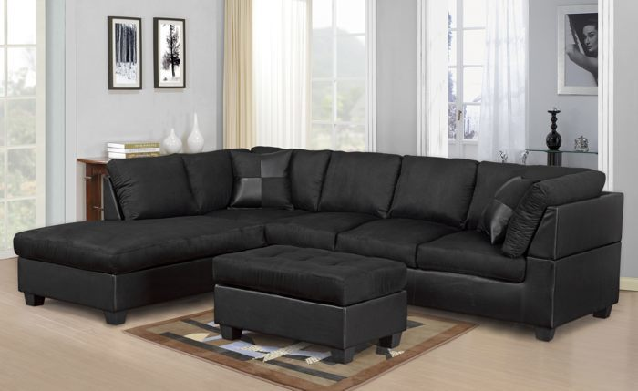 MODERN 2PC BLACK SECTIONAL SOFA AND CHAISE - Kassa Mall Home Furniture