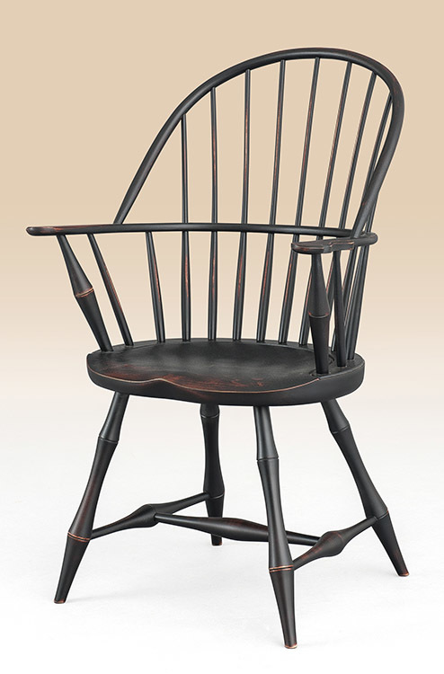 Historical Connecticut Sack-Back Windsor Armchair with Bamboo
