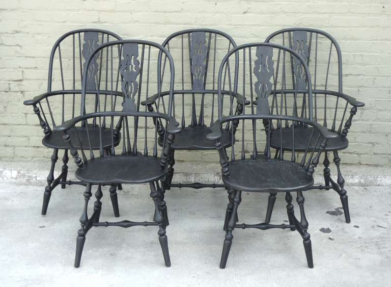 Set of 5 Original Black Painted Brace Back Windsor Chairs at 1stdibs