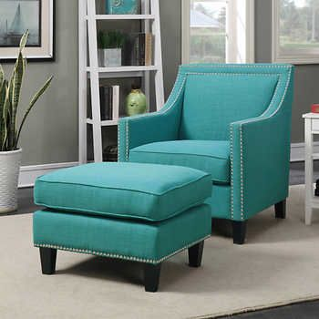 Emery Teal Accent Chair with Ottoman Costco $499 | Furniture | Teal