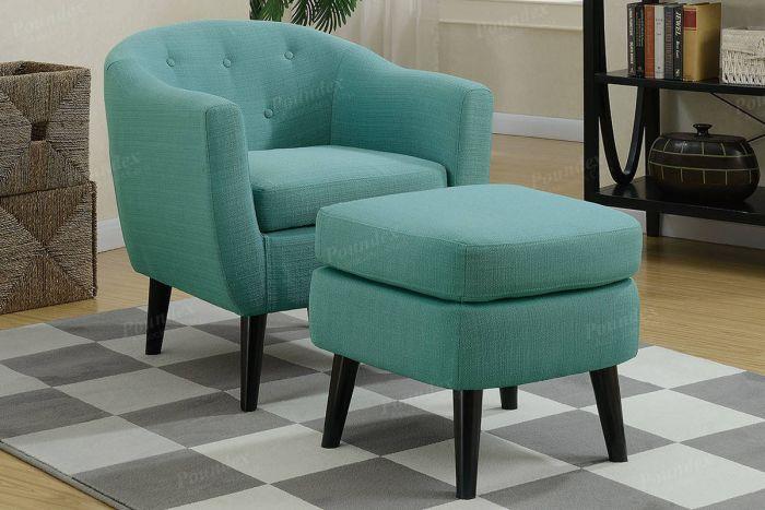 Buy Light Blue Accent Chair W/ Ottoman in El Paso, TX - ECOF