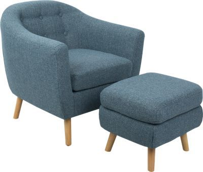 Rozelle Blue Accent Chair & Ottoman in 2018 | Living room ideas