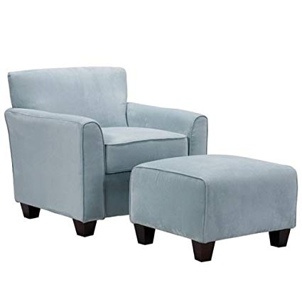 Amazon.com: Park Avenue Sky Blue Hand-tied Accent Chair and Ottoman