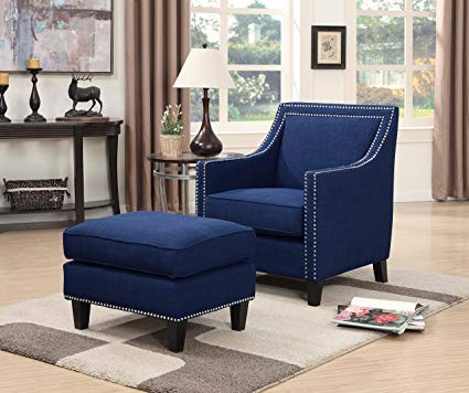 Blue Accent Chair With Ottoman